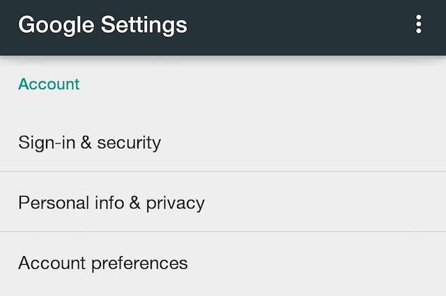 Google-Configurações da conta