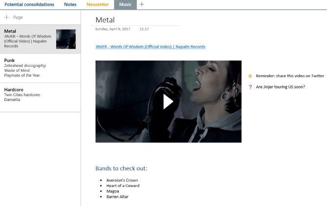 vídeo onenote