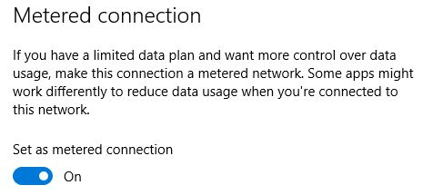 Windows 10 Connection Metered