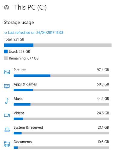 Windows 10 armazenamento utilizado