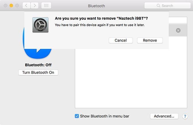 remover dispositivo Bluetooth