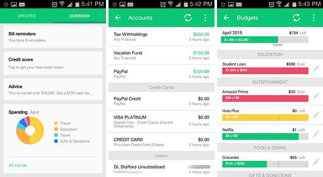 android-Finanças-aplicativos de hortelã