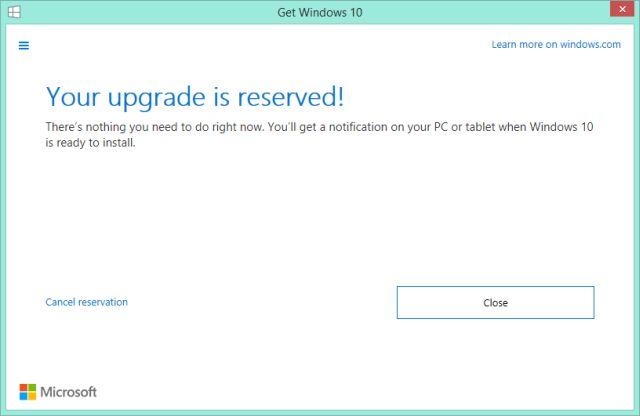 Anular Windows 10 Reservation