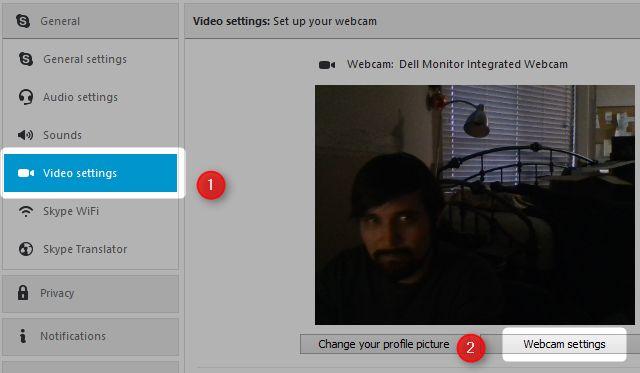 configurações de vídeo skype
