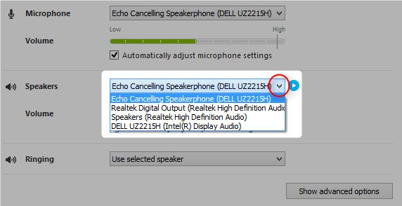 skype áudio e alto-falantes