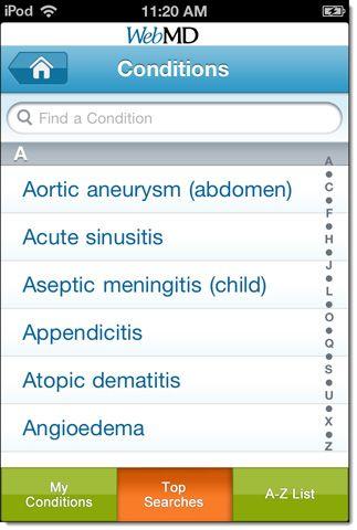 WebMD aplicativo para iPad