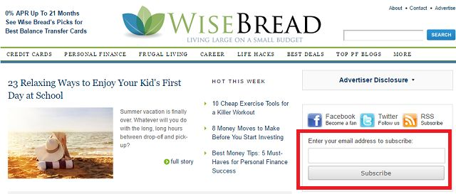 WiseBread Finanças Site tela