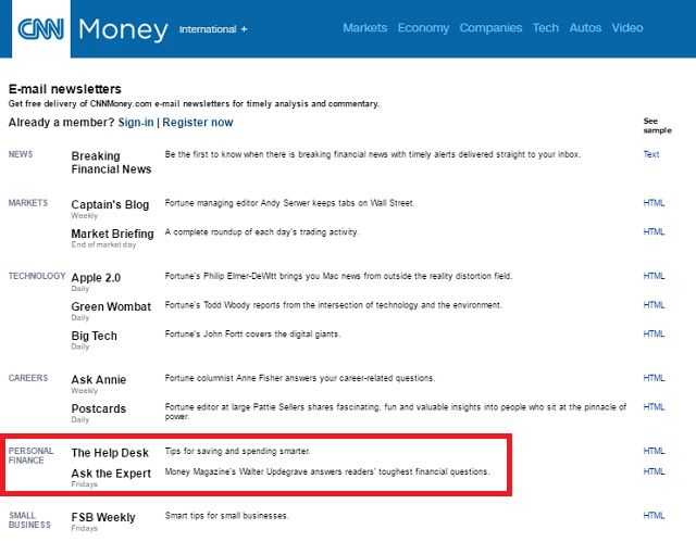 CNN Personal Finance Newsletters