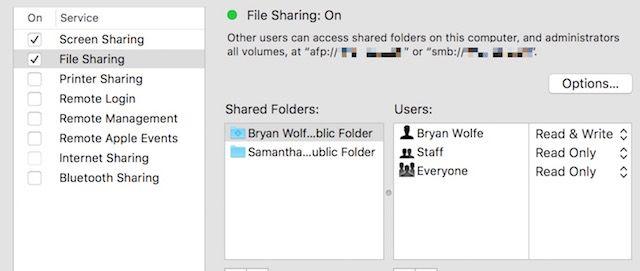Compartilhamento-configurações