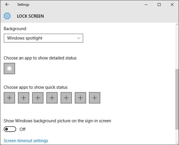 janelas definições do ecrã 10 de bloqueio