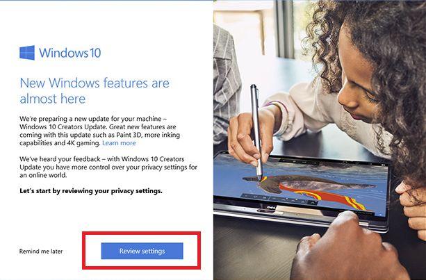 Windows 10 criadores privacidade atualização