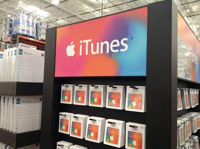 cremalheira de cartões de oferta do iTunes