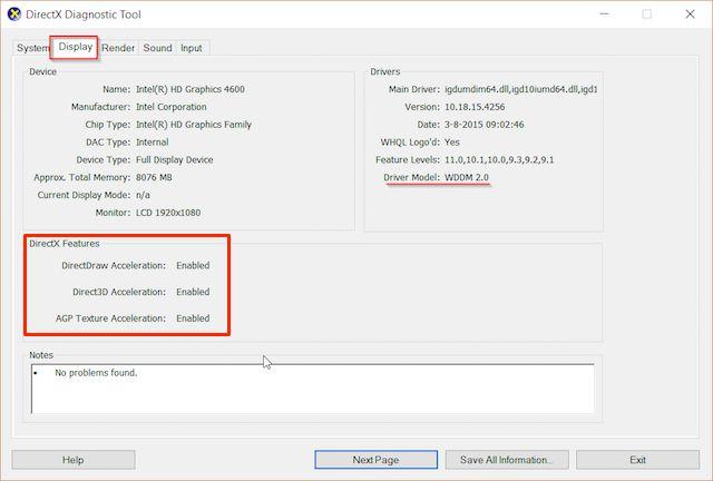 DirectX Diagnostic-Tool-display-aceleração de hardware