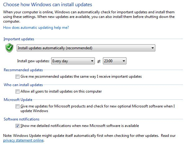 Configurações do Windows Update