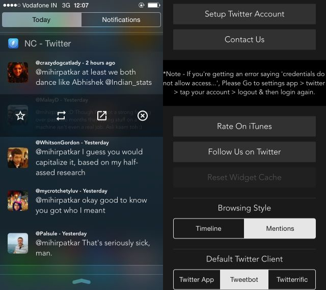 NC-twitter-widget para-iOS-8