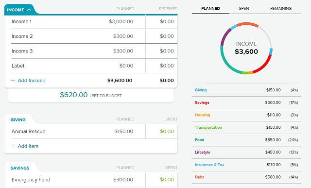 orçamento calculadoras-everydollar