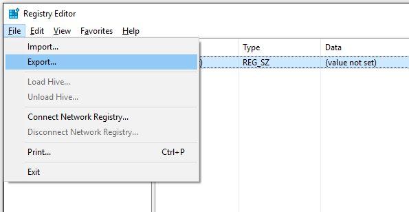 chave de registro de backup