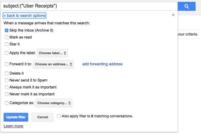 Arquivo gmail criar filtro pule caixa de entrada
