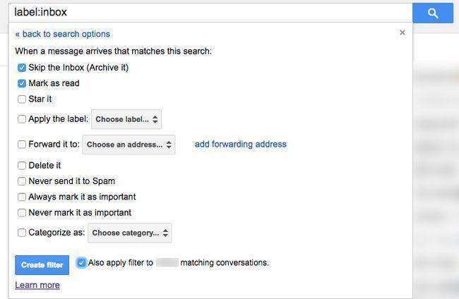 gmail arquivar todos filtro de e-mail antigo