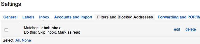 gmail arquivar excluir filtro