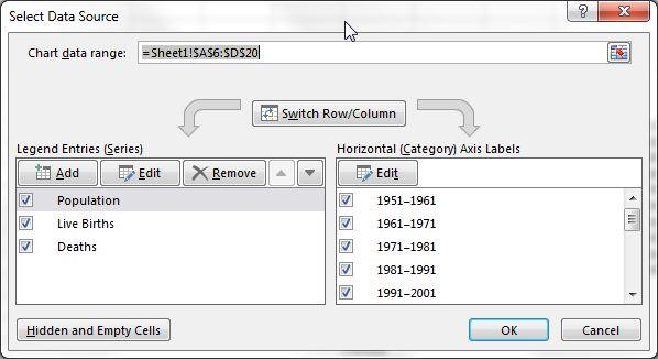 Excel intervalo de dados Série de dados Nome