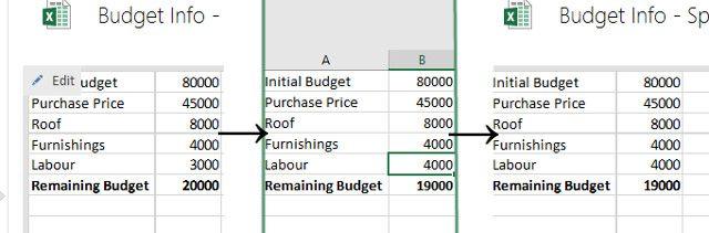 edições do Excel