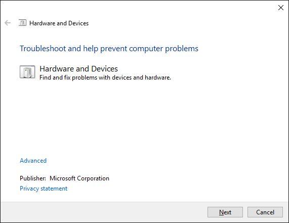 hardware e dispositivos de solução de problemas