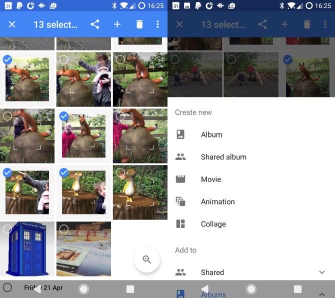 Google Fotos Android selecionados