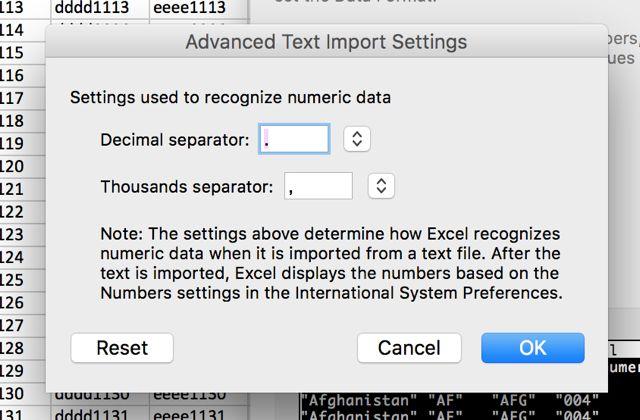 avançada de texto-import-excel