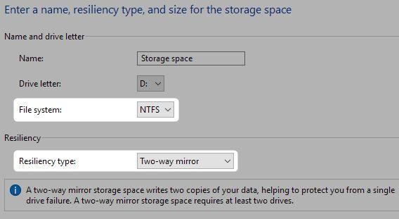 espaços de armazenamento reiliency e sistema de arquivos