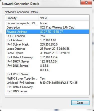 Detalhes da conexão de rede