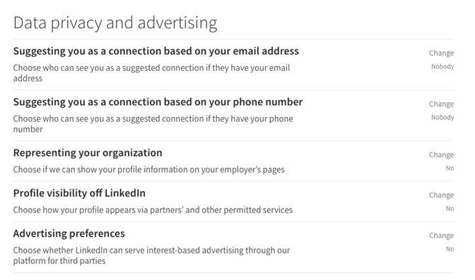 privacidade dos dados linkedin