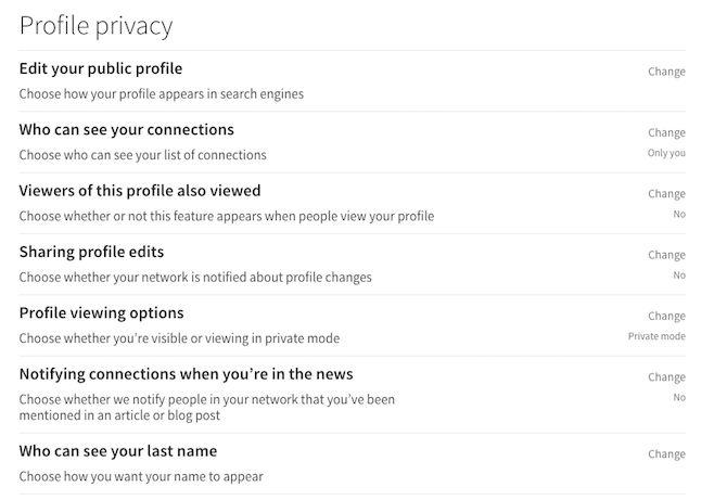 linkedin privacidade perfil