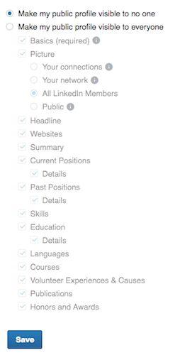 linkedin visibilidade perfil público