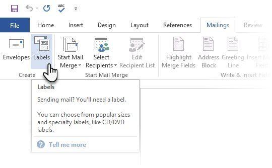 Etiquetas do Microsoft Word