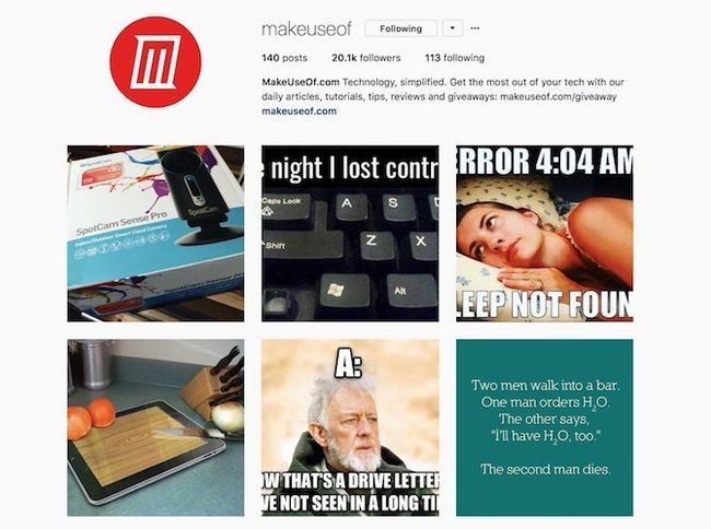 MakeUseOf instagram bio