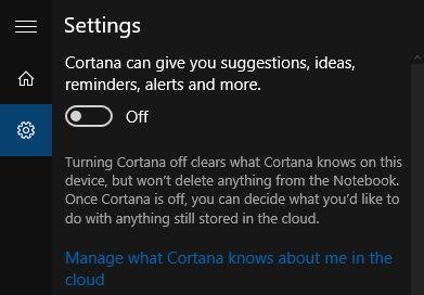 configurações Cortana