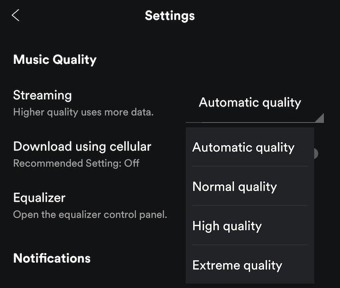 música de qualidade de streaming Spotify