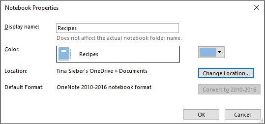 Propriedades bloco de anotações OneNote