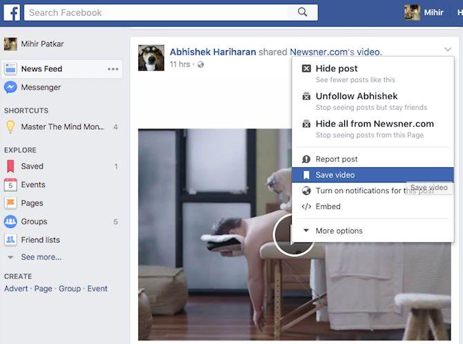 facebook marcador vídeo