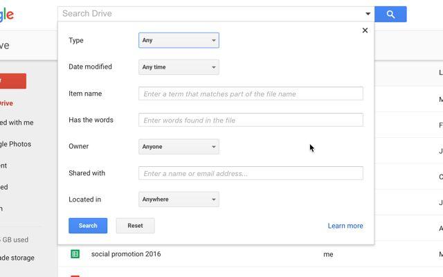 google-drive-avançado de pesquisa