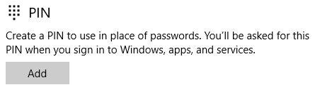 Windows 10 criar senha pin