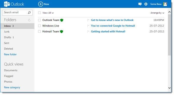 usando o Outlook com o Gmail
