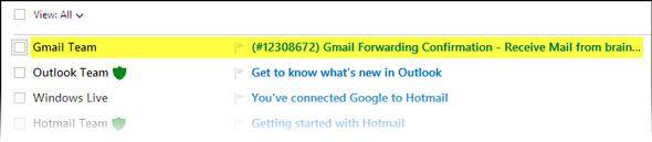 usando o Outlook e Gmail