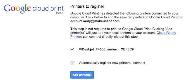 registo de impressora