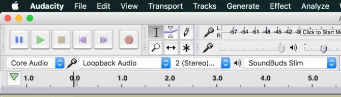 mac gravação audácia loopback