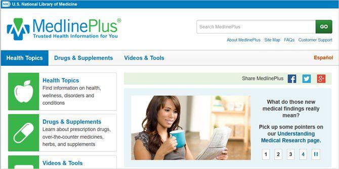 Medline Plus web principal