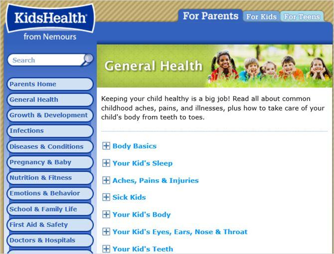 KidsHealth web geral