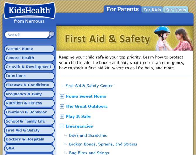 KidsHealth primeiros socorros web