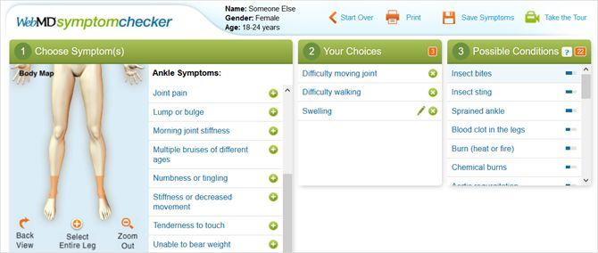 WebMD sintoma verificador